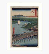 Senju great bridge - Japanese pre 1915 Woodblock Print Art Print