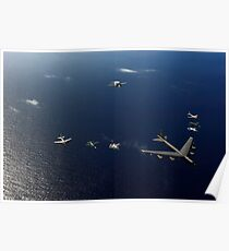 A U.S. Air Force B-52 Stratofortress aircraft leads a formation of aircraft. Poster