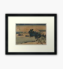 Mount Fuji Scene - Japanese pre 1915 Woodblock Print Framed Print