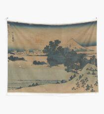 Mount Fuji Scene - Japanese pre 1915 Woodblock Print Wall Tapestry