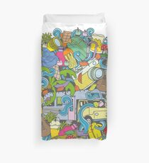 Camping and travel cartoon doodles  Duvet Cover