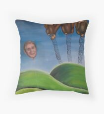 Mr Bush and the wise monkeys Throw Pillow