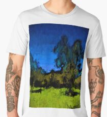 Gold Trees in the Blue Wind Men's Premium T-Shirt