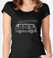 Save the Environment - take a bus Women's Fitted Scoop T-Shirt