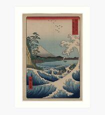 Sea at Satta in Suruga Province - Japanese pre 1915 Woodblock Print Art Print