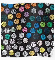 Polka Dot Sketch Pattern Colour Poster