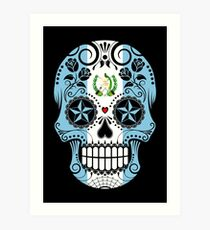Sugar Skull with Roses and Flag of Guatemala Art Print