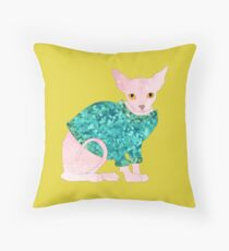 Clive the Bald Cat Throw Pillow