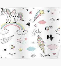 Pastel unicorn dreams Poster