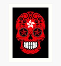 Sugar Skull with Roses and Flag of Hong Kong Art Print