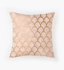 Peach mermaid scales Throw Pillow