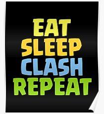 Essen Sie Schlaf-Zusammentreffen-Wiederholungs-lustiges Geschenk Poster