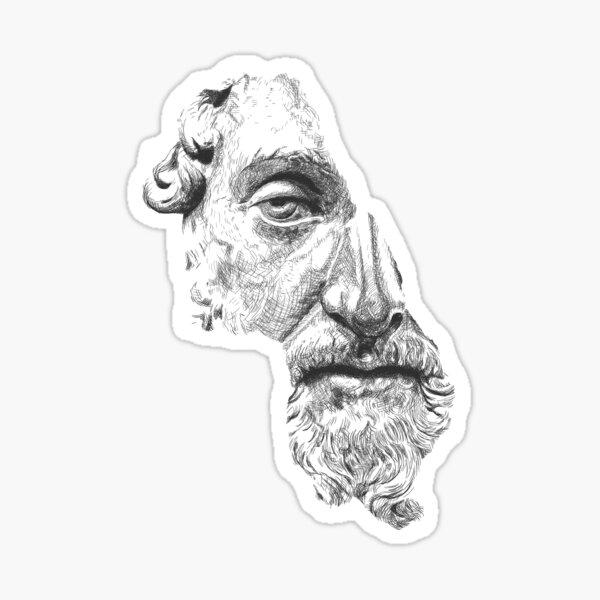 MARCUS AURELIUS ANTONINUS AUGUSTUS / black and white Sticker