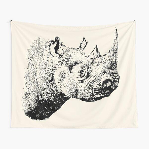 Black Rhino in Profile   African Wildlife Tapestry