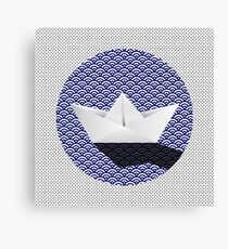 Origami boat japanese pattern Canvas Print