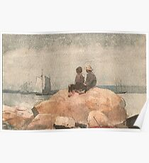Winslow Homer American, 1836-1910 Two Boys Watching Schooners, 1880 Poster