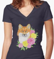 Foxy Flowers Women's Fitted V-Neck T-Shirt