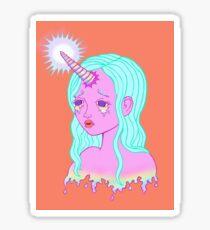 Unicorn Tears Pastel - Orange Background Sticker