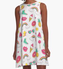 Trendy print with patches. A-Line Dress