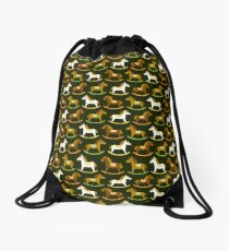 Rocking horses pattern Drawstring Bag