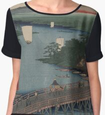 Senju great bridge - Japanese pre 1915 Woodblock Print Women's Chiffon Top