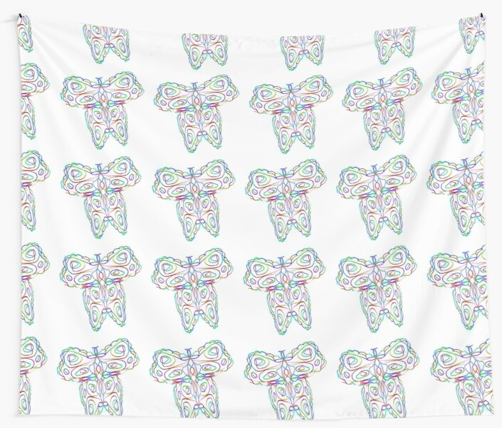 Rainbow Butterfly on White by KazM