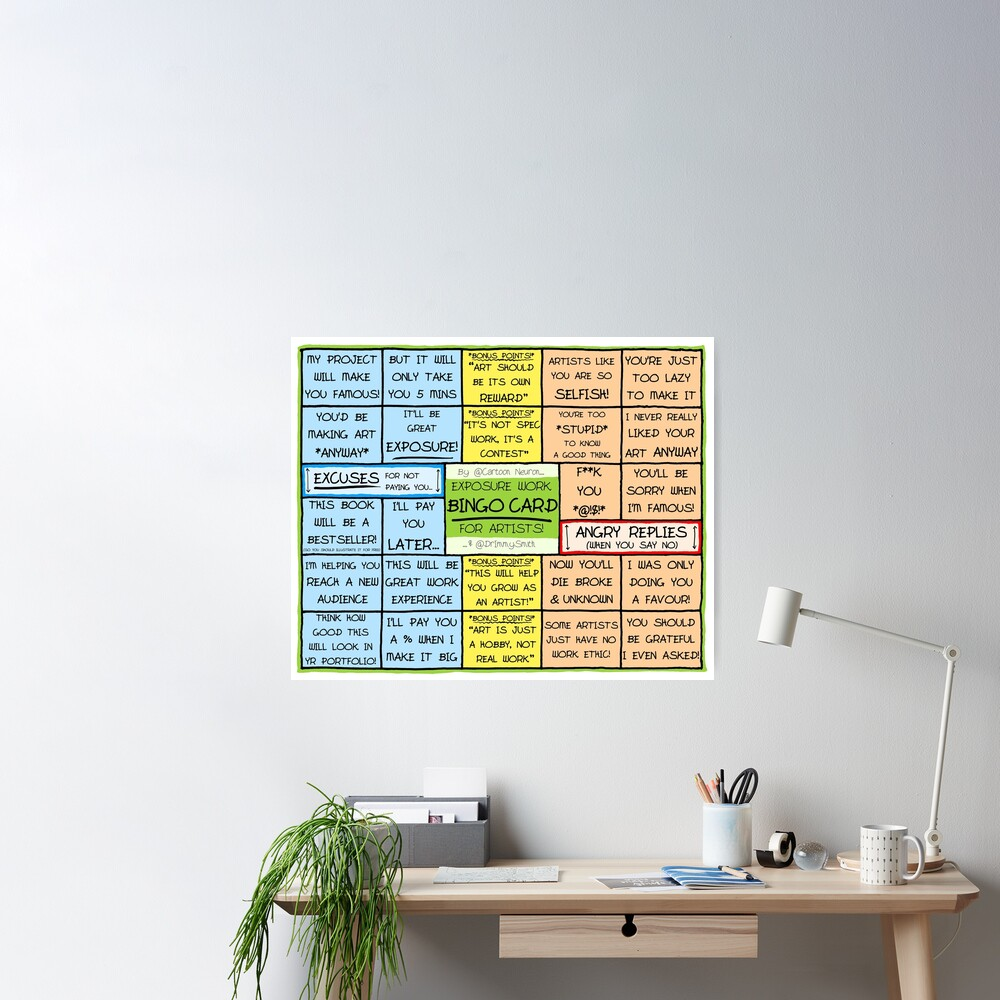 BINGO CARD FOR ARTISTS - Exposure Work Excuses & Replies Poster