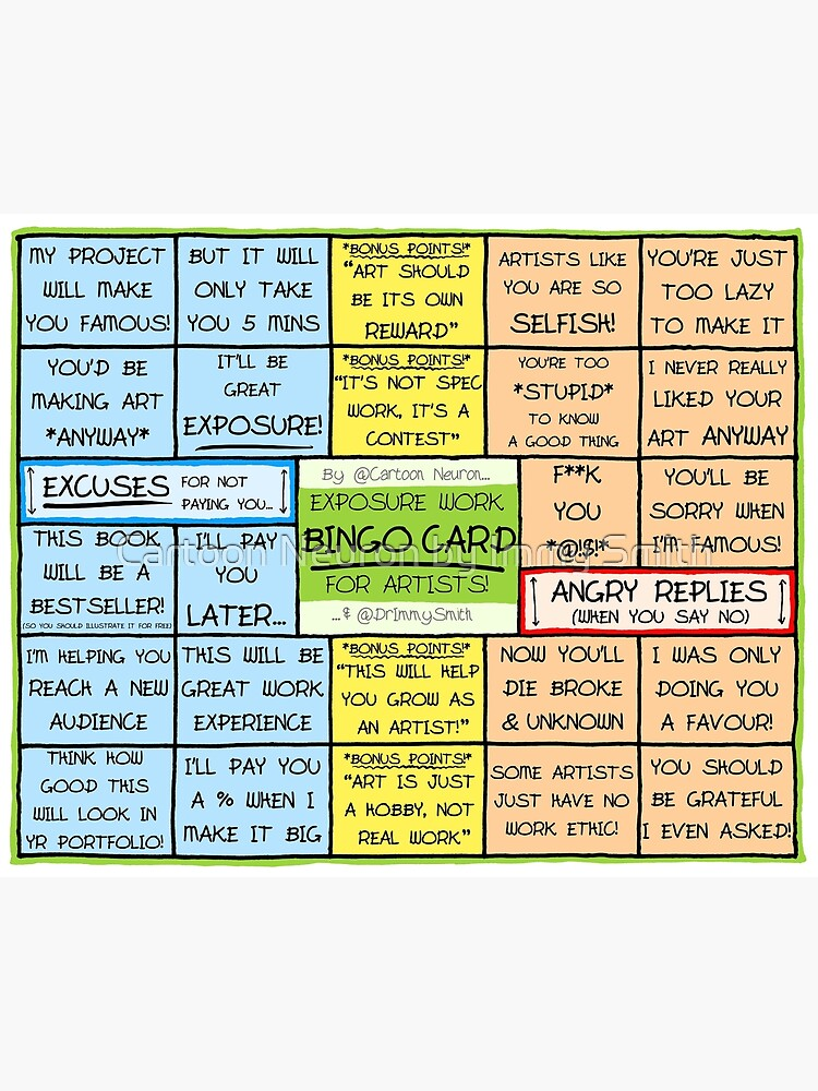 BINGO CARD FOR ARTISTS - Exposure Work Excuses & Replies by Immy
