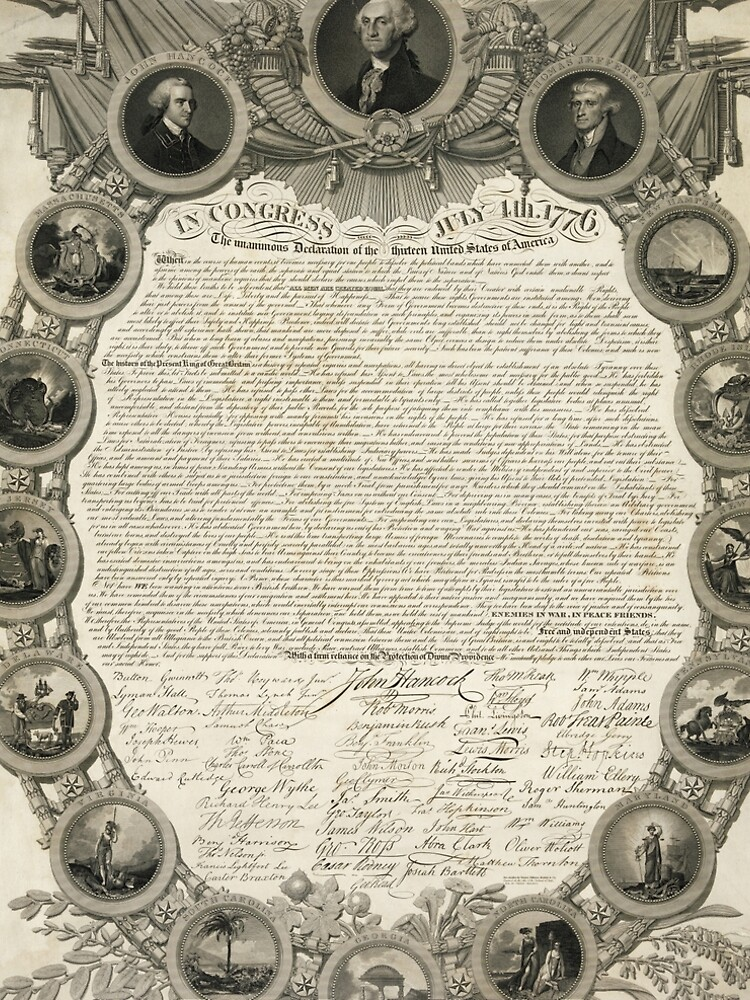 Facsimile of the Declaration of Independence dated April 19th 1819 by allhistory