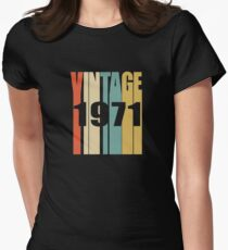 Vintage 1971 Birthday Retro Design Womens Fitted T-Shirt