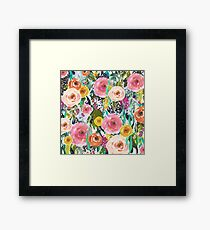 Pretty Watercolor Garden Floral Framed Print