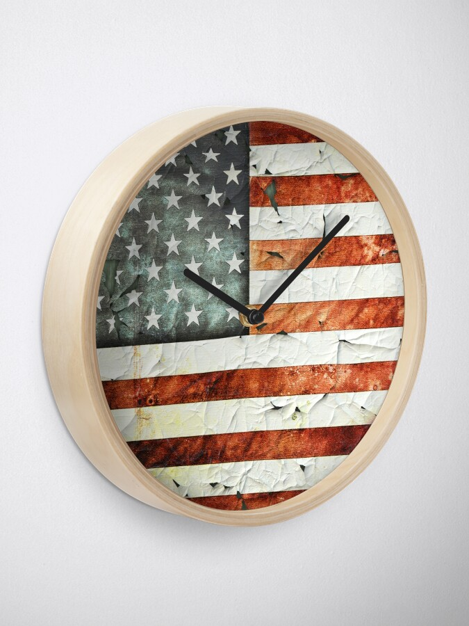 Alternate view of Painted Stars And Stripes Clock