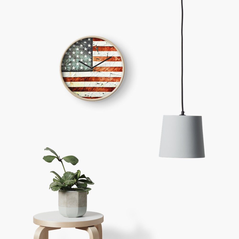 Painted Stars And Stripes Clock