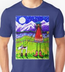 Home Rocky Mountains Moon Starry Sky River Flowers Dog Cowgirl Boots  Unisex T-Shirt