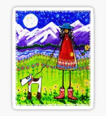 Home Rocky Mountains Moon Starry Sky River Flowers Dog Cowgirl Boots  Sticker