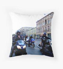 Art Deco Bikers Throw Pillow