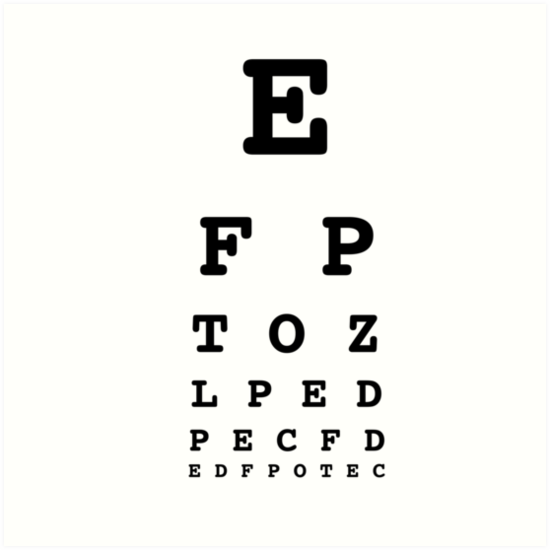 Eye Chart Test White Art Prints By Lemonpoppyseedm Redbubble