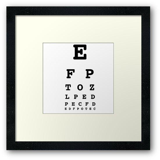 Eye Chart Test White Framed Prints By Lemonpoppyseedm Redbubble