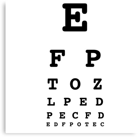 Eye Chart Test White Canvas Prints By Lemonpoppyseedm Redbubble