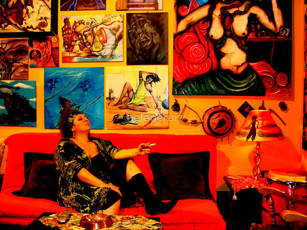 portrait of me in my living room after a home exhibit by juan cordero by helene ruiz