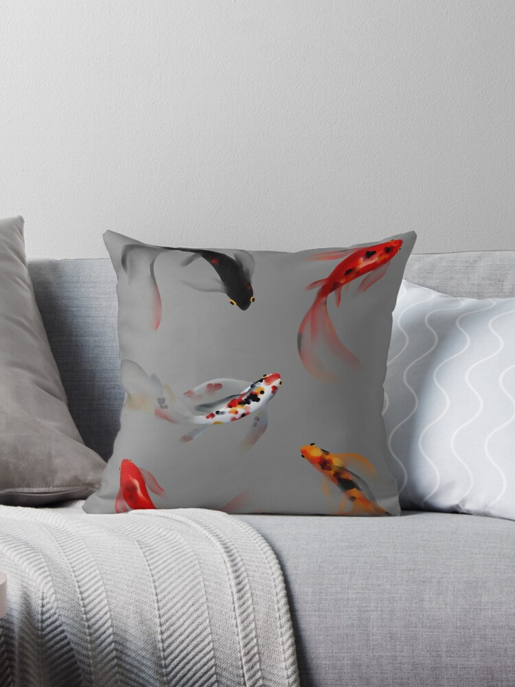 Koi fish set light grey throw pillows by for Grey koi fish