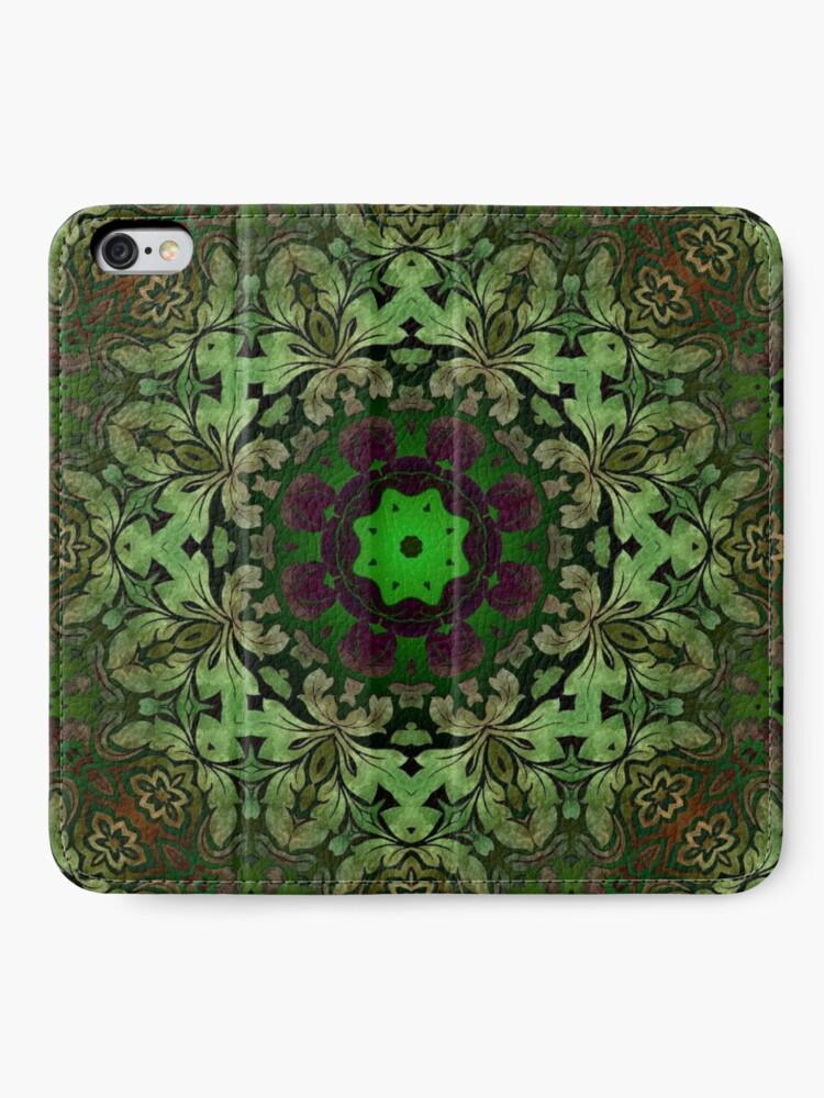 Alternative Ansicht von Kunstböhmisches Druckwaldgrün Mandala der Renaissancekunst iPhone Flip-Case