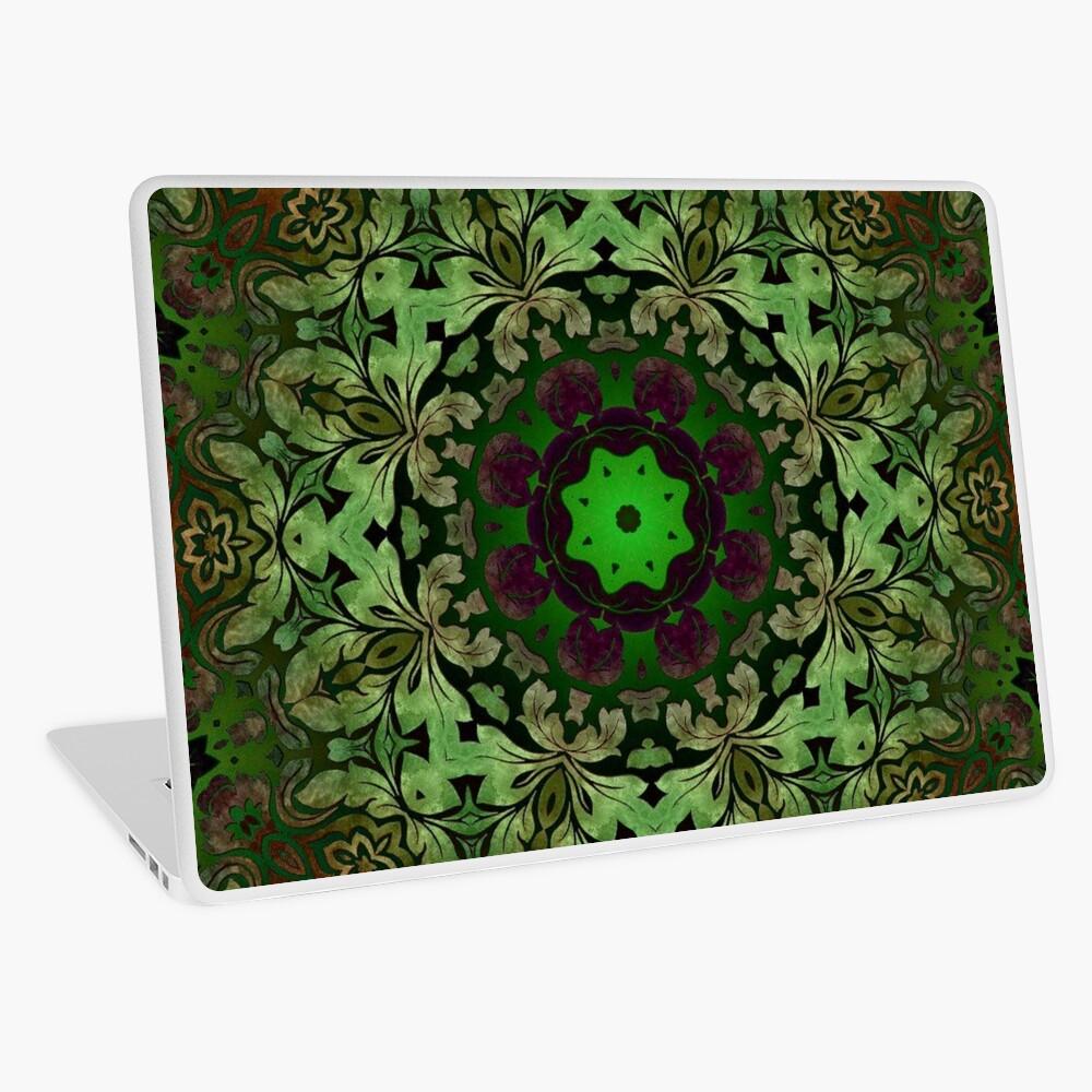 Kunstböhmisches Druckwaldgrün Mandala der Renaissancekunst Laptop Folie