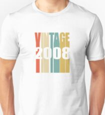 Vintage 2008 Birthday Retro Design  Unisex T-Shirt