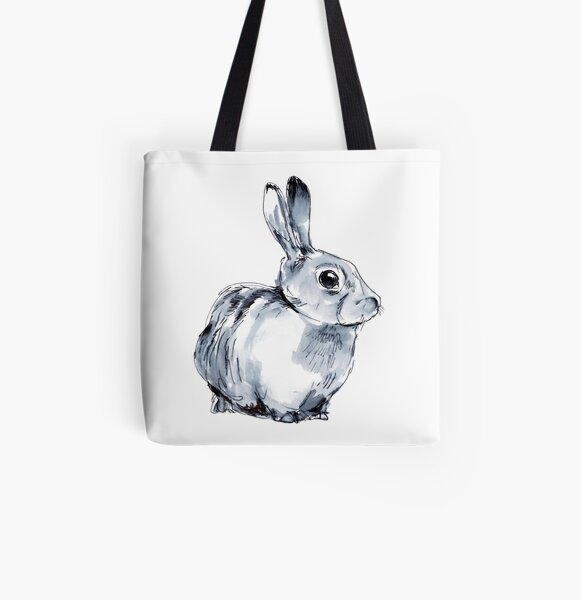 Inky Bunny (White) All Over Print Tote Bag