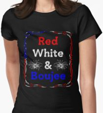Funny President Trump Patriotic Red, White, & Boujee Women's Fitted T-Shirt
