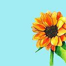 Aquarell Sonnenblume Gemälde von DiBeauteous
