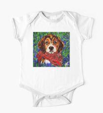 Buddy Dog Beagle Puppy Western Wildflowers Basset Hound  One Piece - Short Sleeve