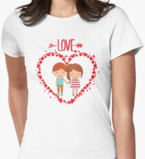 Love romantic t-shirt tee shirt heart boy girl. Womens Fitted T-Shirt