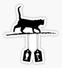 Cat silhouette - Fish Sale tags Sticker